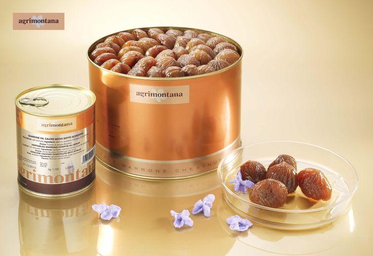 I marroni canditi Agrimontana nelle splendide confezioni per pasticcerie.