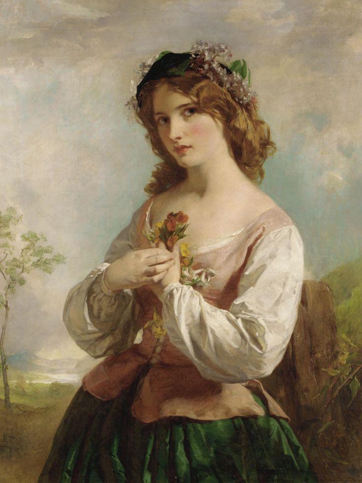 English school, XIX century, Portrait of a girl holding flowers