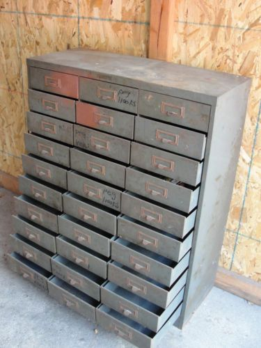 Vintage Metal Tool Cabinet Chest Storage Small Tools 30 Multi Drawer Drawers