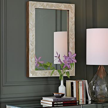 Parsons Small Wall Mirror - Bone Inlay #westelm ? Interesting for that wall from Garage?