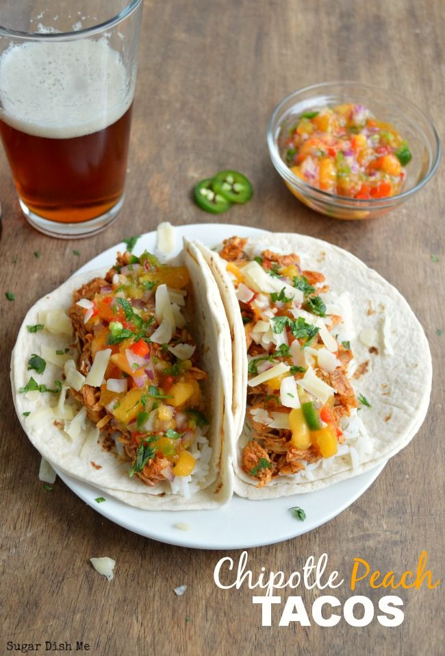 Chipotle Peach Chicken Tacos! A little spicy and a little sweet! What a great way to use up fresh peaches!