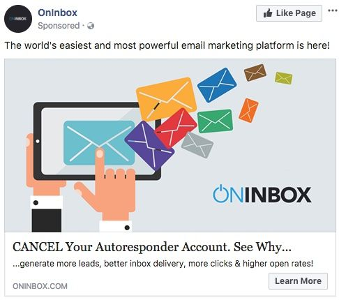 Facebook Ad for The world's easiest and most powerful email marketing platform