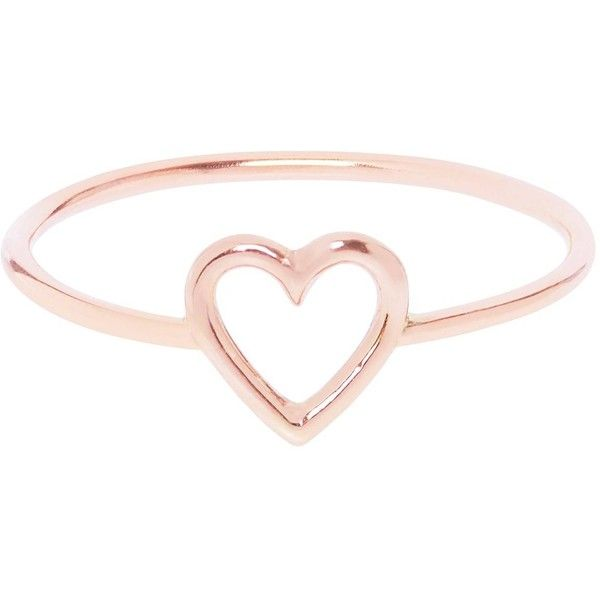 Love Is - Rose Gold Heart Ring ($115) ❤ liked on Polyvore featuring jewelry, rings, accessories, pink gold jewelry, red gold ring, rose gold heart ring, heart-shaped jewelry and heart jewellery