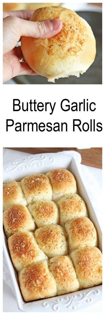 Homemade Buttery Parmesan Garlic Rolls -- Simple fluffy rolls topped with butter and Parmesan and a hint of garlic. | gatherforbread.com