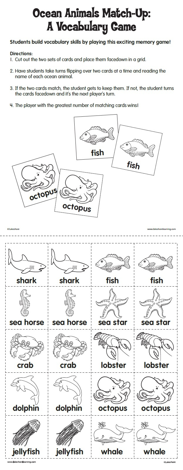 Ocean Animals Match-Up: A Vocabulary Game from Lakeshore Learning: Children build vocabulary skills by playing this exciting memory game!