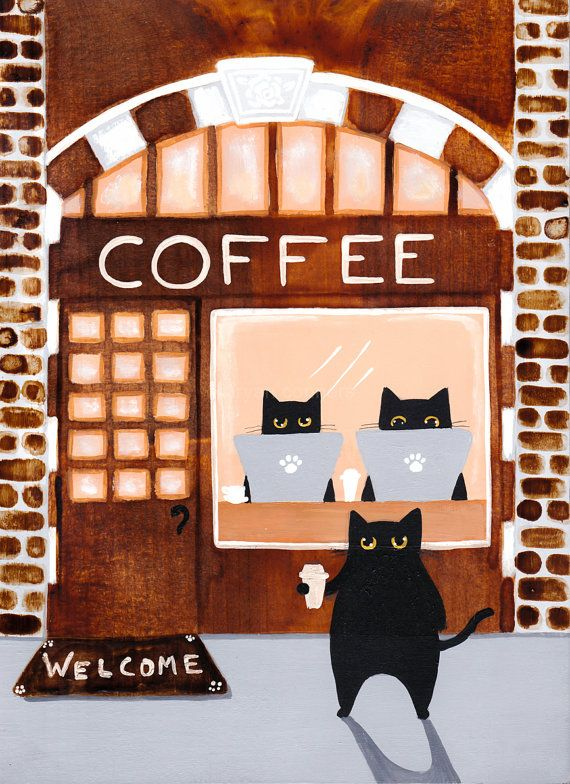 Coffee House Cats Original Cat Folk Art by KilkennycatArt on Etsy