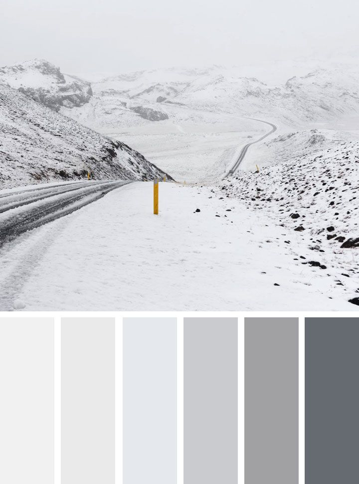 grey and white winter color scheme - Find beautiful and inspiring color palettes , blue color palette, navy blue ,green ,mint emerald etc. for your home decor or wedding color theme, these 1000s color palette you've never seen it before...