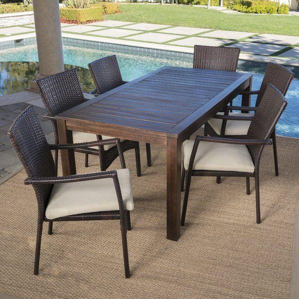 Avenir Outdoor Wood Wicker 7 Piece Dining Set With Cushions Wicker Dining Chairs Outdoor Wood Outdoor Dining Set