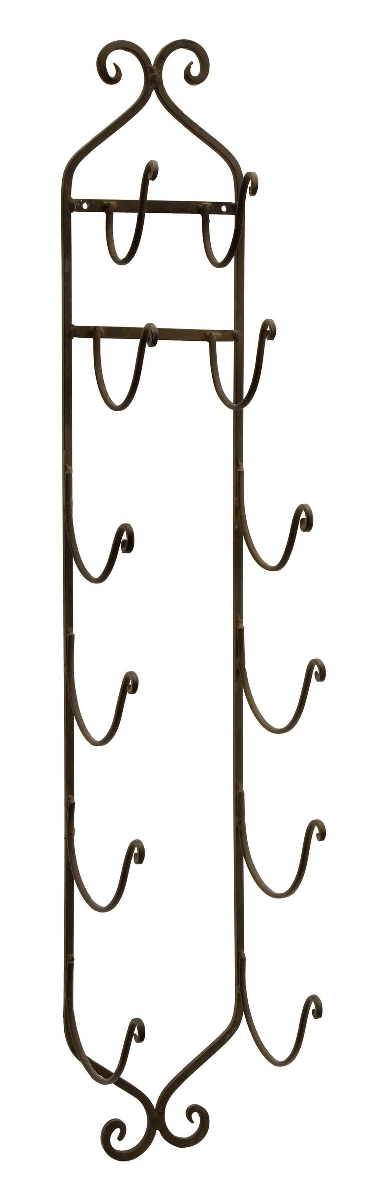 Features:  -Material: 100% Wrought iron.  -Distressed: No.  -Mount Type: Wall…