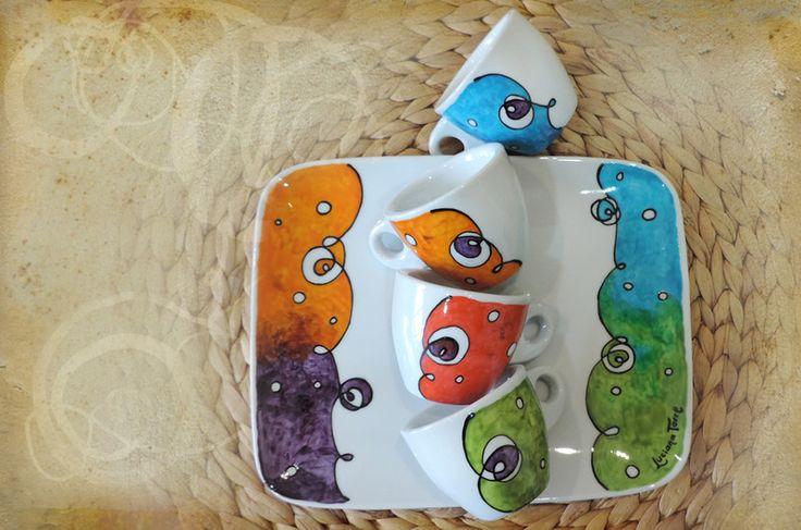 tazzine caffè e vassoio multicolor dipinto a mano di Luciana Torre SHOP - ceramica, foulards e accessori tessili, dipinti a mano con amore su DaWanda.com