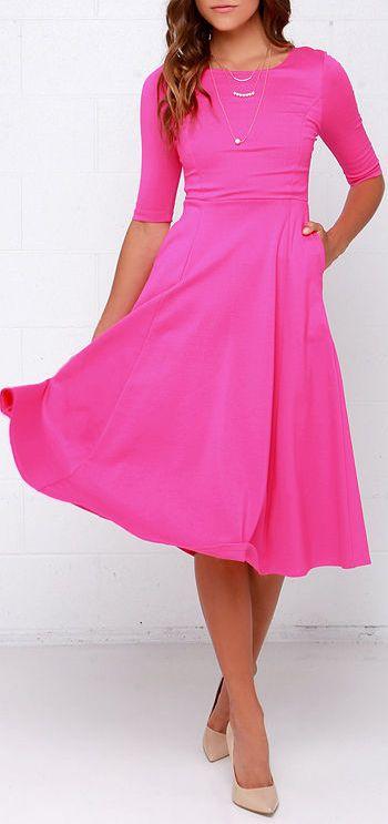Having a Shindig Hot Pink Midi Dress