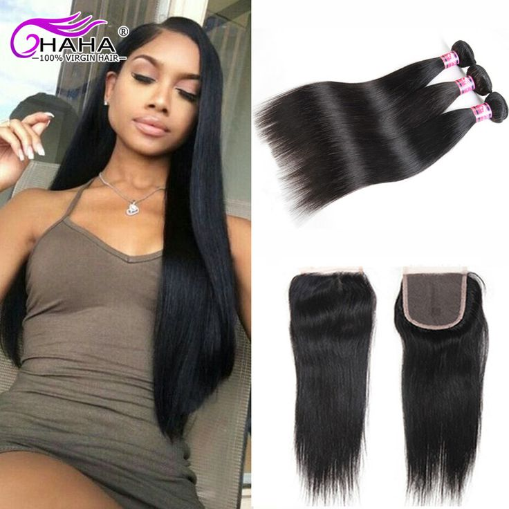 New 8A Brazilian Virgin Hair With Closure 3 Bundles Straight Human Hair Weave With Closure Queen Hair Products and Lace  Closure