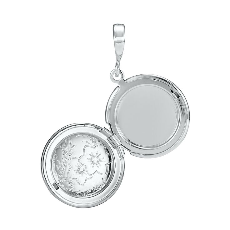 White Gold Layered Round Locket Pendant | Allure Gold