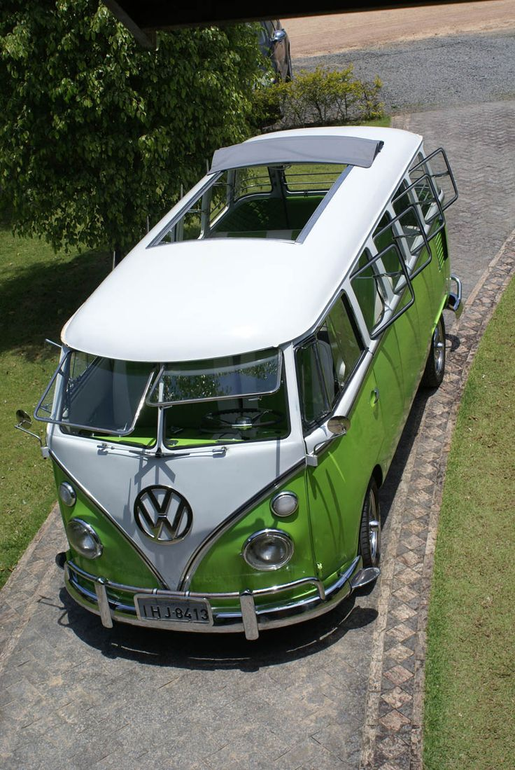 Volkswagen T2 Microbus Deluxe model 244 | first built in 1951 | splitting the windshield and roofline into a vee helped the production Type 2 achieve a drag coefficient of 0.44. The Transporters first generation T2 pre 1967 [mistakenly called T1]