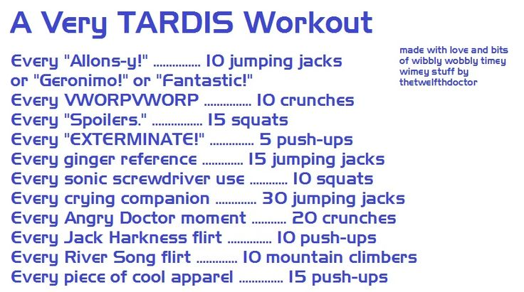 Doctor Who workout -- this seems like it could get intense.