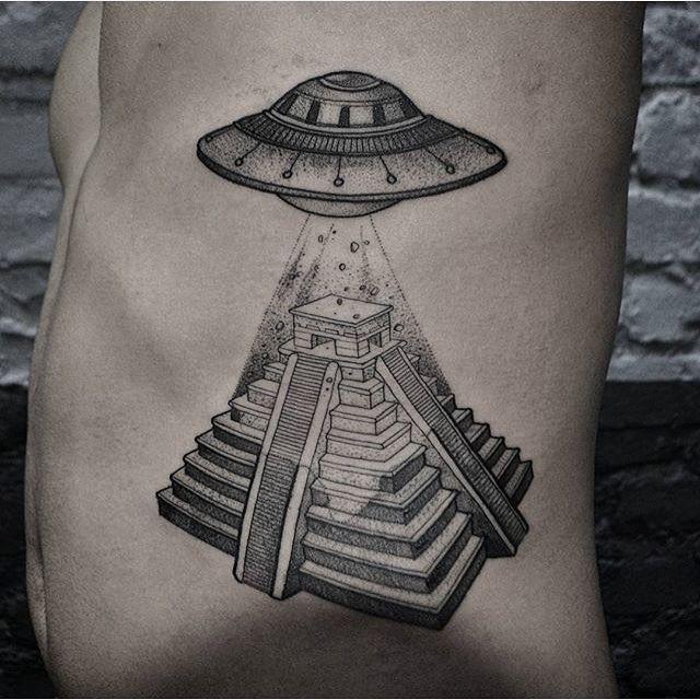 Ufo Mayan Temple Tattoo