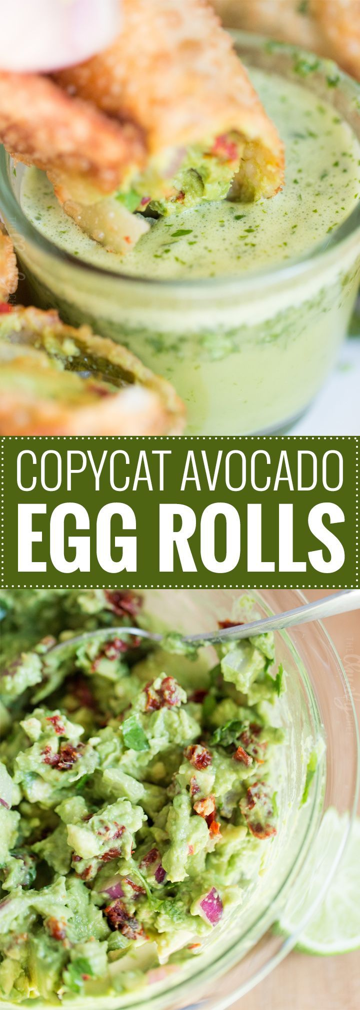 Copycat Avocado Egg Rolls   A copycat of The Cheesecake Factory's avocado egg rolls, this recipe is loaded with amazing flavors and served with the most delicious honey cilantro dipping sauce! Not a spot on copycat, but one made with easy to find ingredients!   https://www.thechunkychef.com   #appetizer #copycat #eggroll #avocado #party