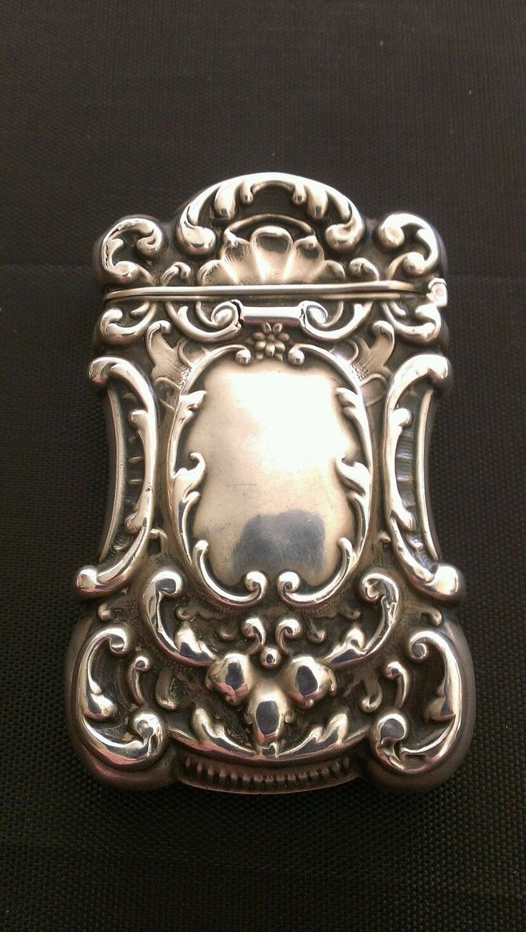 Antique Sterling Silver Monogrammed Match Safe / Vesta Case - back