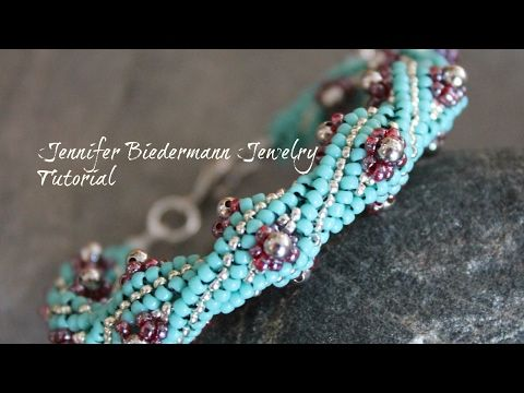 Twisted herringbone flower bud bracelet tutorial - YouTube