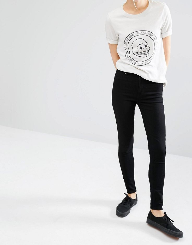 Image 1 of Cheap Monday Spray On High Waist Organic Cotton Skinny Jeans