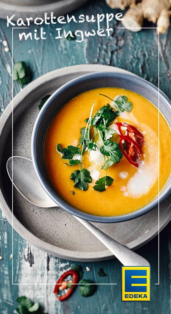Suppe aus Karotten mit Kohlrabiwürfel-Einlage und einem Hauch von Ingwer. #karottensuppe #ingwer #edeka