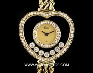 Chopard 18k Yellow Gold Heart Shaped Happy Diamonds Dial Ladies 21/4218