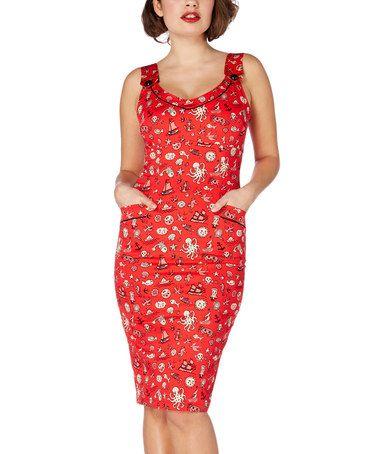 Look what I found on #zulily! Red Nautical Andiem Pencil Dress #zulilyfinds