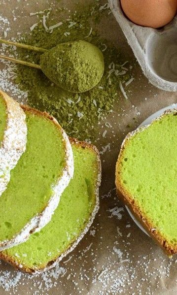 Green Tea Coconut Pound Cake-This Green Tea Coconut Pound Cake is buttery, fragrant, indulgent - and full of antioxidants. Matcha green tea powder, which is used in Japanese tea ceremonies, gives our pound cake recipe its soft green hue. Coconut adds just a touch of sweetness. This makes a great dessert or snack anytime of the year.