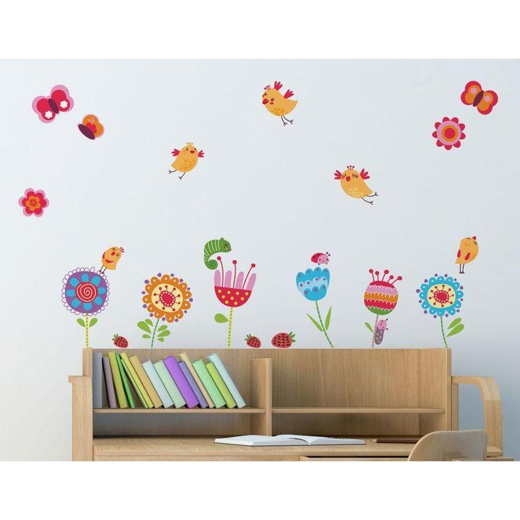 Birds and Flowers διακοσμητικά παιδικά αυτοκόλλητα τοίχου επανατοποθετούμενα L μέγεθος