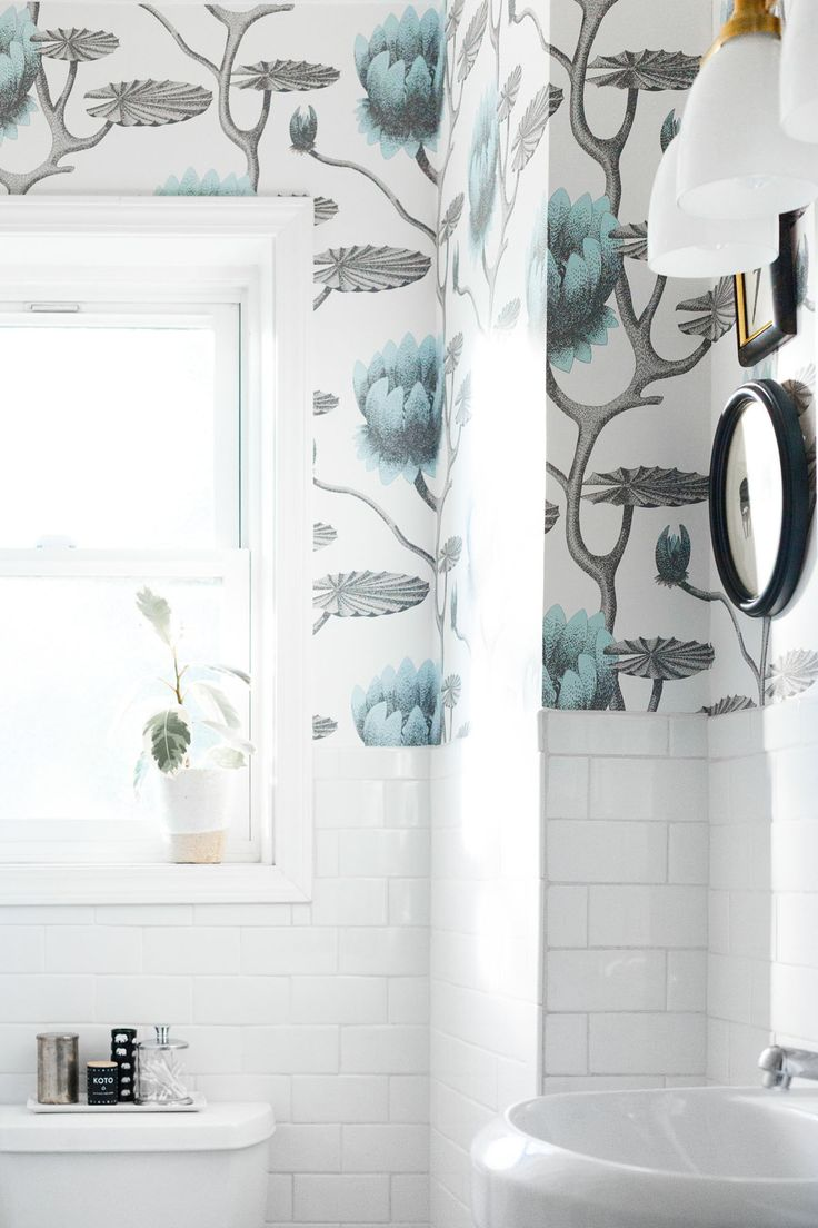 Cole Son Wallpaper In A Small Bathroom Makeover On Coco Kelley