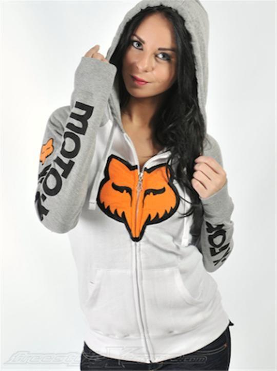 Fox White Moto-X Womens Zip Hoody