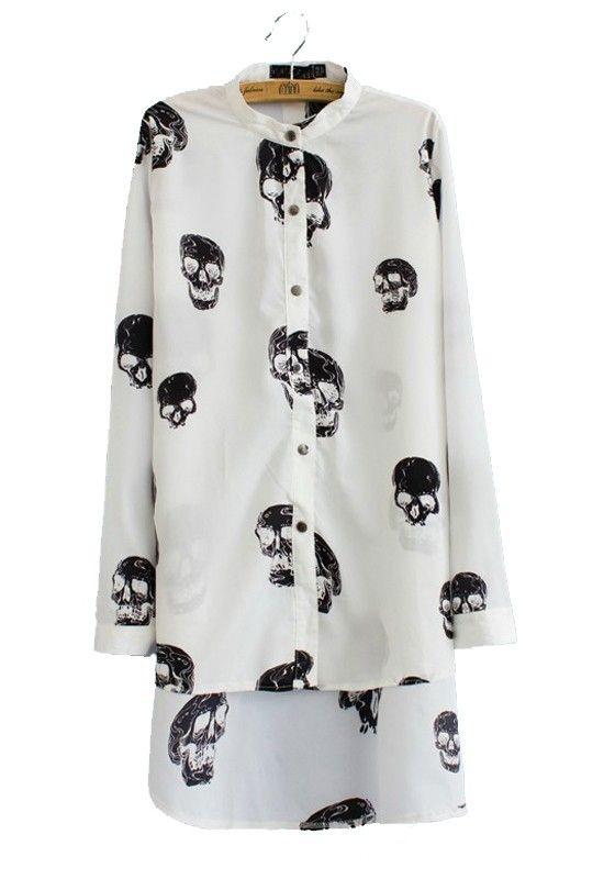 White Skull Print Long Sleeve Wrap Chiffon Blouse