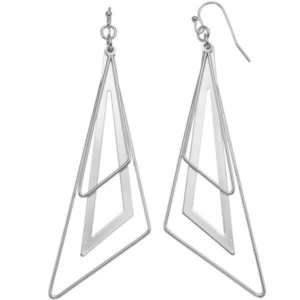 Triangle Hoop Nickel Free Drop Earrings (2.105 HUF) ❤ liked on Polyvore featuring jewelry, earrings, silver, silvertone earrings, triangle earrings, steel hoop earrings, drop earrings and triangle drop earrings