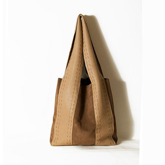 Winter bags Fall tote bags Suede and leather by ElenaVandelliBags