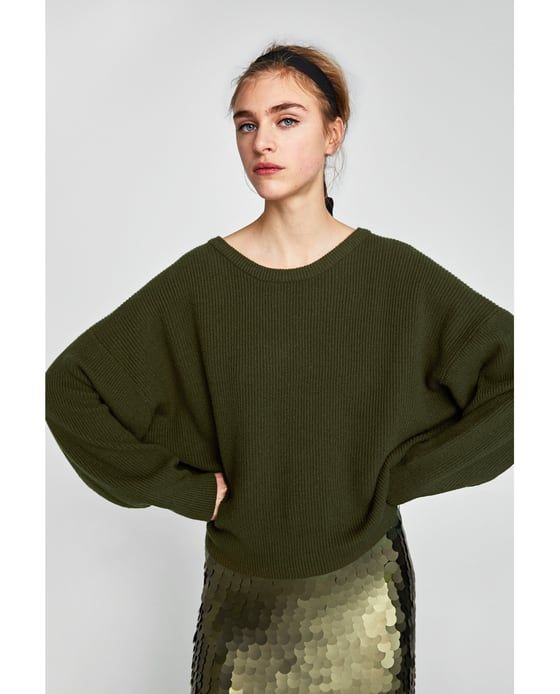 0c3d5985 SWEATER WITH A BOW IN THE BACK from Zara #newarrivals #fallfashion #green  #olive #sweater #winterfashion #sequins #zara #fashioneditorial #trythis