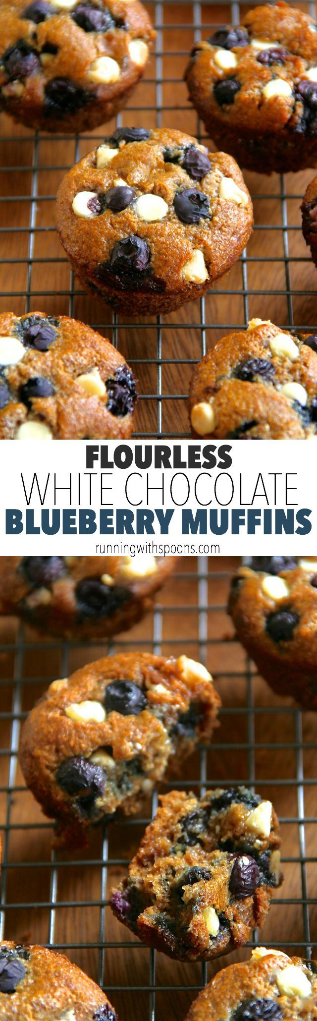 Flourless White Chocolate Blueberry Muffins -- gluten-free, oil-free, dairy-free, refined sugar-free, but so soft and delicious that you'd never be able to tell! || runningwithspoons.com