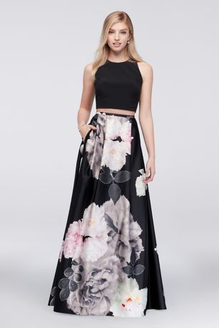 With strappy cutouts and a bold floral print, this jersey crop top and charmeuse ball gown skirt walks the line between edgy and sweet. By Blondie Nites Two-piece ensemble Polyester Back zipper; partially lined Dry clean Imported