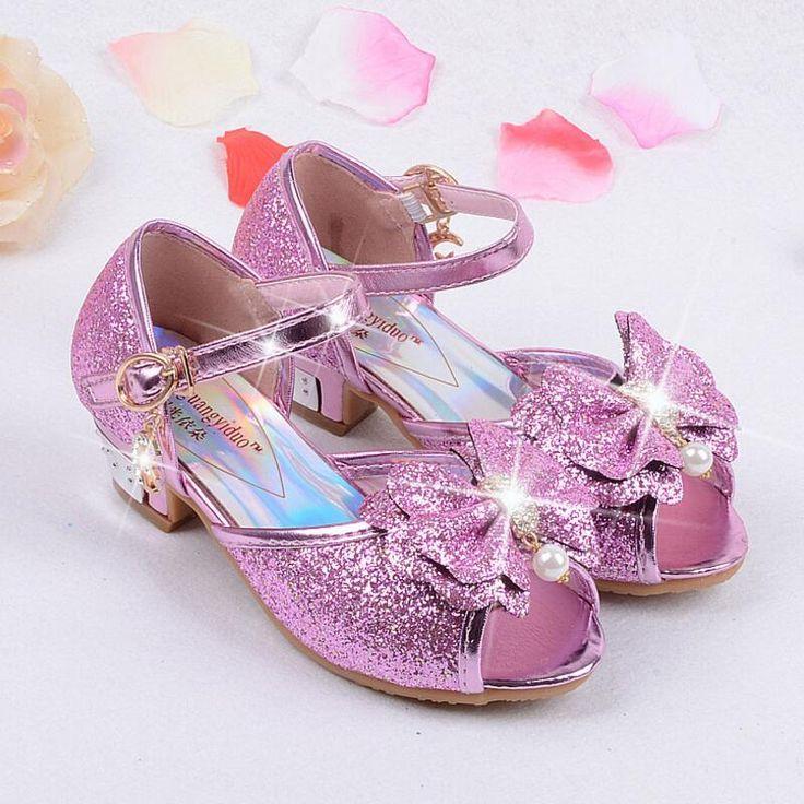 夏2016子供王女サンダルキッズ女の子結婚式の靴ハイヒールドレスシューズパーティーシューズ用女の子革ボウタイ