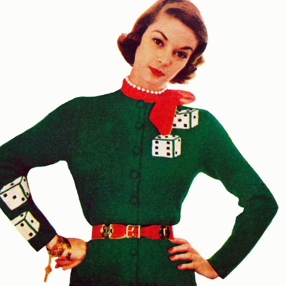 Vintage 1950s Knitting Pattern   Lucky Las Vegas Dice Cardigan   Tight Pinup Girl Sweater  by 2ndlookvintage, $4.00