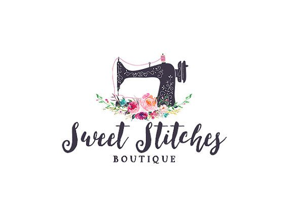 Sewing logo, premade floral sewing machine logo design 229