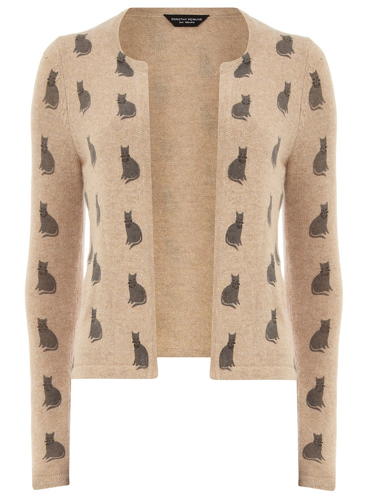 Camel cat print fluffy cardigan - Knitwear - View All Sale - Sale & Offers - Dorothy Perkins
