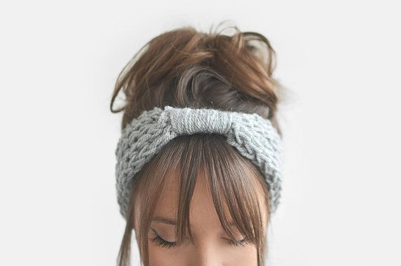 Inspiration: Light grey headband ear warmer custom color / Hand by Plexida