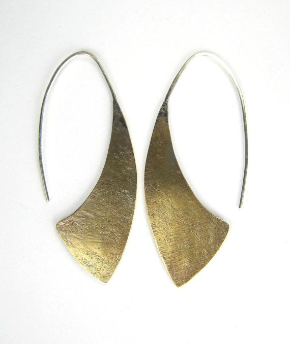 Brass and sterling silver hatchet earrings rustic textured modern statement oxidized lightweight big tribal on Etsy, $38.00