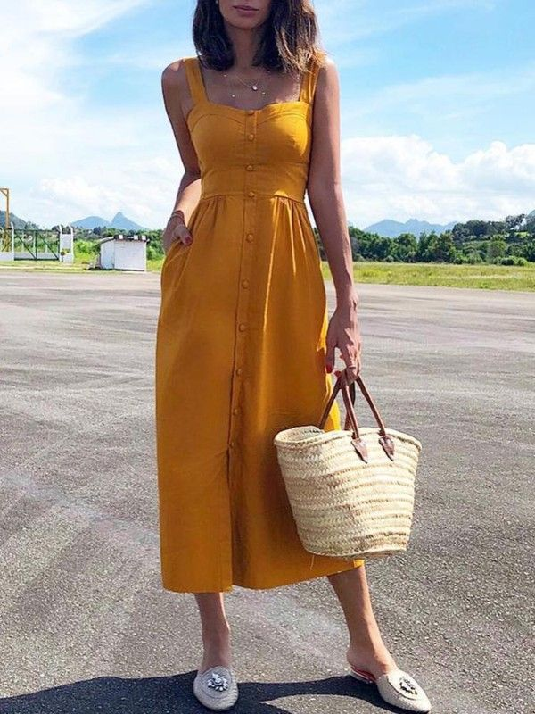 Solid Button Design Thick Strap Casual Dress 17