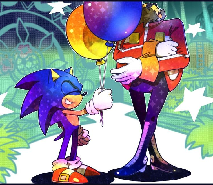 ~Sonic giving Eggman balloons~ Awe Sonic...Lighten up Egghead, He's just being nice xD