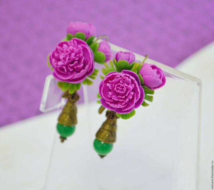 """Купить """"Пионы"""" серьги - пионы, серьги, длинные серьги, полимерная глина, цветы из полимерной глины"""