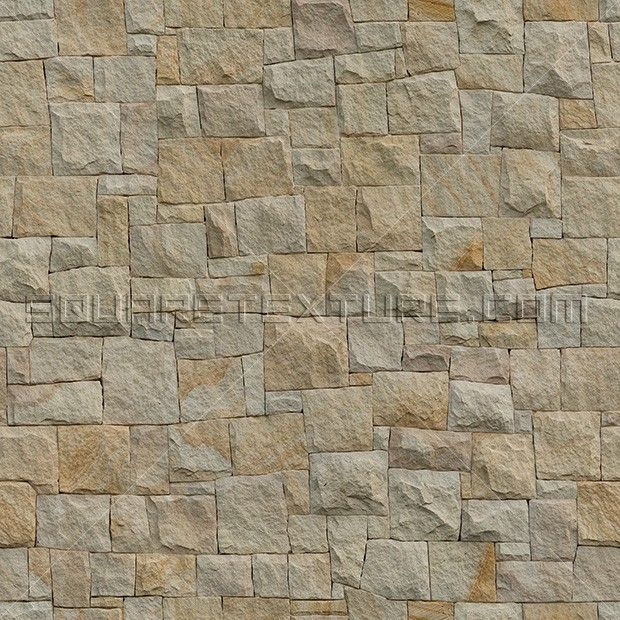 Stone texture 042: Rockface dry-joint sandstone cladding - Square Texture