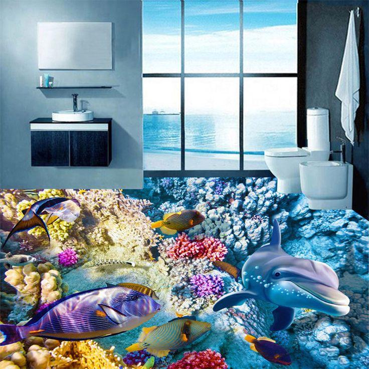 Personalizado 3D Azulejo Piso Pintura Golfinhos Coral Tropical Peixe Foto Mural Vinil Papel De Parede Do Banheiro Do Hotel Home Decor Afrescos(China (Mainland))