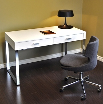YORK CONTEMPORARY DESK IN WHITE LACQUER - SOHOCONCEPT