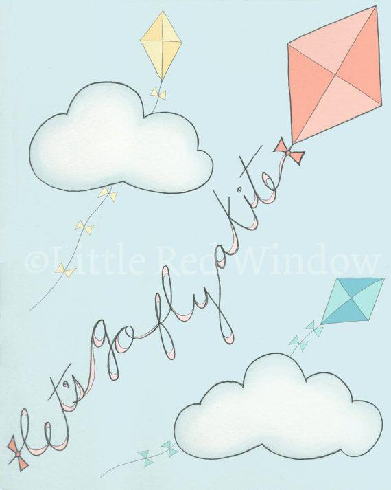 Let's Go Fly a Kite Printable Print  -- INSTANT DOWNLOAD -- 8 x 10 --Nursery Art Print
